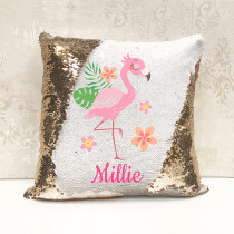 Personalised Flamingo Reversible Sequin Cushion