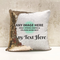 Personalised photo sequin cushion
