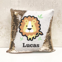 Personalised Lion Reversible Sequin Cushion