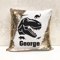 Personalised Dinosaur Reversible Sequin Cushion