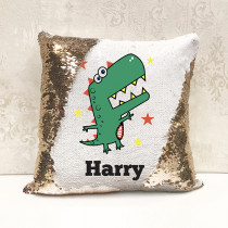 Personalised T Rex Reversible Sequin Cushion