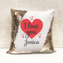 Personalised I Love You Reversible Sequin Cushion