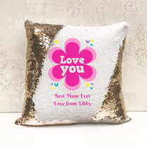 Personalised Pink Love You Reversible Sequin Cushion