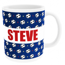 Personalised Football Pattern with Big Name - Mug