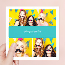 Personalised Three Photos With Script Text - Luxury Fabric Card