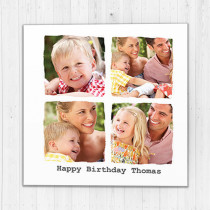 Personalised Photo Card - Ripped Effect Luxury Fabric Card with Four Photo Upload