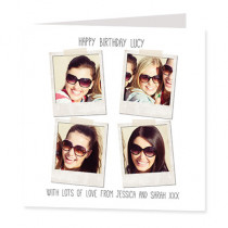 Personalised Instant Photo Style with four Photo Uploads - Luxury Greeting Card