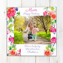 Personalised Traditional Floral Luxury Fabric Photo Card