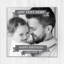 Personalised Simple Grey Banner Photo Card - Luxury Fabric Card