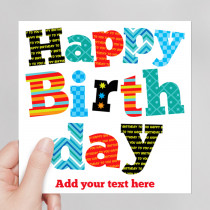 Personalised Funky Happy Birthday Luxury Fabric Card