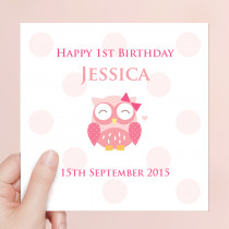 Personalised Cute Pink Owl Luxury Fabric Card
