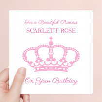 Personalised Princess Crown Luxury Fabric Card