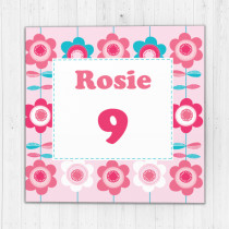 Personalised Bright Flower Pattern Big Age Luxury Fabric Photo Card