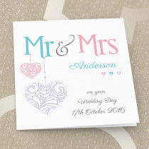 Personalised Pastel Mr And Mrs Luxury Fabric Card