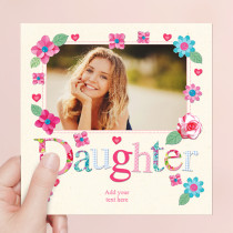Personalised Fabrique Daughter Luxury Fabric Photo Card