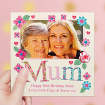 Personalised Fabrique Mum Luxury Fabric Photo Card