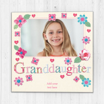Personalised Fabrique Granddaughter Luxury Fabric Photo Card