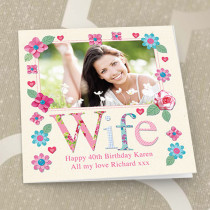 Personalised Fabrique Wife Luxury Fabric Photo Card