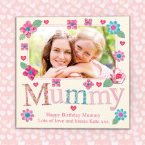 Personalised Fabrique Mummy Luxury Fabric Photo Card