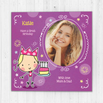 Personalised Cute Cake - Luxury Fabric Photo Card