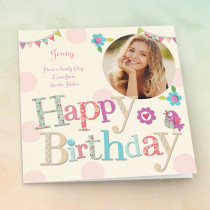 Personalised Fabrique Happy Birthday - Luxury Fabric Photo Card