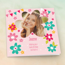 Personalised Modern Flowers - Luxury Fabric Photo Card