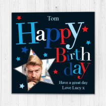 Personalised Black Happy Birthday Photo Card - Luxury Fabric Card