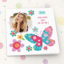 Personalised Itsy Bitsy Butterfly Luxury Fabric Photo Card