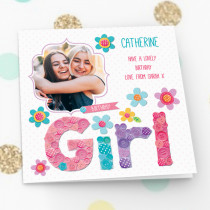 Personalised Birthday Girl Luxury Fabric Photo Card