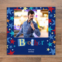Personalised Grunge Star Brother Luxury Fabric Photo Card