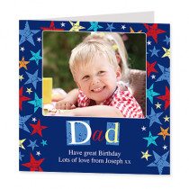 Star Dad with Photo Upload - Luxury Greeting Card