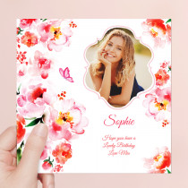 Personalised Watercolour Flowers - Luxury Fabric Photo Card