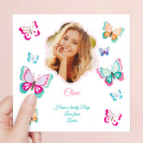 Personalised Mariposa Butterflies - Luxury Fabric Photo Card