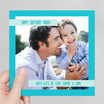 Personalised Blue Frame Photo Card - Luxury Fabric Card