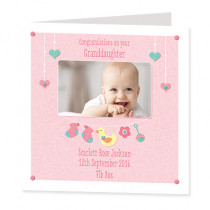 Infant Girl with Photo Upload - Luxury Greeting Card