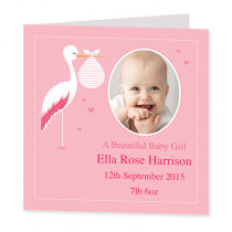 Baby Girl Stork with Photo Upload - Luxury Greeting Card