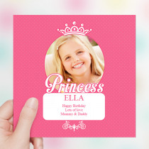 Pretty Pink Princess Luxury Fabric Photo Card