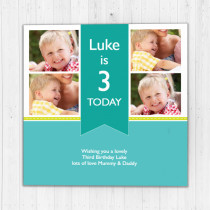 Personalised Blue Ribbon Big Age Luxury Fabric Photo Card