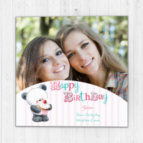Personalised Happy Birthday Cute Panda - Luxury Fabric Photo Card