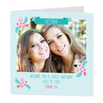 Modern Teal with Flowers and Photo Upload - Luxury Greeting Card