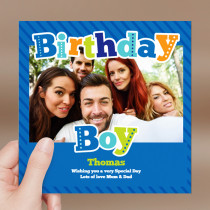 Personalised Birthday Boy Luxury Fabric Photo Card