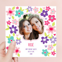 Personalised Bright Flowers - Luxury Fabric Photo Card