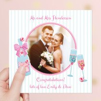 Personalised Champagne Celebration Luxury Fabric Photo Card