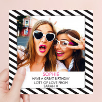 Personalised Black and White Stripes - Luxury Fabric Photo Card
