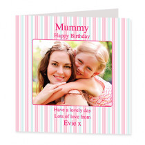Pastel Pink Stripes with Photo Upload - Luxury Greeting Card