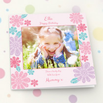 Personalised Pastel Flowers Luxury Fabric Photo Card
