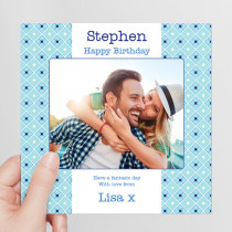Personalised Blue Diamonds Photo Card - Luxury Fabric Card