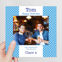 Blue Checkerboard Photo Card - Luxury Fabric Card