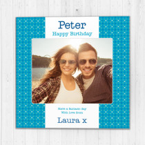 Personalised Blue Crosses Photo Card - Luxury Fabric Card