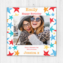 Personalised Bright Stars Luxury Fabric Photo Card